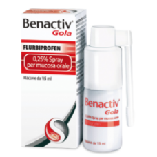 "BENACTIV GOLA ""0.25%-37.5 mg SPRAY MUCOSA ORALE"" FLACONE 15 ml (SPRAY 15ML 0,25%)"